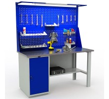 Стол верстак слесарный металлический с экраном и тумбой с дверцей, 1600 мм, Промет PROFI WT160.WD1/F1.021