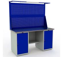 Стол верстак слесарный металлический с экраном и двумя тумбами, 1600 мм, Промет PROFI WT160.WD1/WD1.021