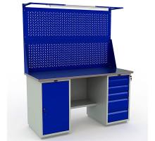 Стол верстак слесарный металлический с экраном и тумбой с дверцей с тумбой с 5 ящиками, 1600 мм, Промет PROFI WT160.WD1/WD5.021