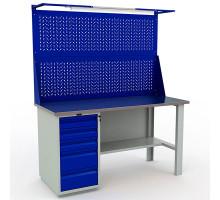 Стол верстак слесарный металлический с экраном и тумбой с 5 ящиками, 1600 мм, Промет PROFI WT160.WD5/F1.021