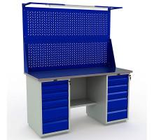Стол верстак слесарный металлический с экраном и тумбой с 5 ящиками с тумбой с 5 ящиками, 1600 мм, Промет PROFI WT160.WD5/WD5.021