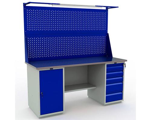 Стол верстак слесарный металлический с экраном и тумбой с дверцей с тумбой с 5 ящиками, 1800 мм, Промет PROFI WT180.WD1/WD5.021