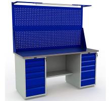 Стол верстак слесарный металлический с экраном и тумбой с 5 ящиками с тумбой с 5 ящиками, 1800 мм, Промет PROFI WT180.WD5/WD5.021