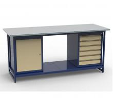 Стол верстак слесарный СВК-2Т.01.06.19, металлический с тумбой с дверцей с тумбой с 6 ящиками, 1900 мм