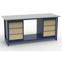 Стол верстак слесарный СВК-2Т.03.03.19, металлический с тумбой с 3 ящиками с тумбой с 3 ящиками, 1900 мм