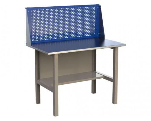 Стол верстак слесарный металлический с экраном, 1200 мм, серия MasterLine, Wellmet