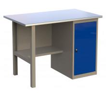 Стол верстак слесарный металлический с тумбой с дверцей, 1200 мм, серия MasterLine, Wellmet 1200 ML