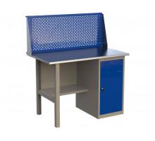 Стол верстак слесарный металлический с экраном, с тумбой с дверцей, 1200 мм, серия MasterLine, Wellmet 1200 ML