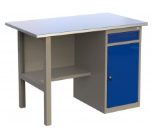 Стол верстак слесарный металлический с тумбой с ящиком и дверцей, 1200 мм, серия MasterLine, Wellmet 1200 ML–1