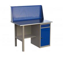 Стол верстак слесарный металлический с экраном и с тумбой с ящиком и дверцей, 1200 мм, серия MasterLine, Wellmet 1200 ML–1