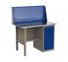 Стол верстак слесарный металлический с экраном и с тумбой с 7-ю ящиками, 1200 мм, серия MasterLine, Wellmet 1200 ML–7