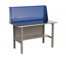 Стол верстак слесарный металлический с экраном, 1400 мм, серия MasterLine, Wellmet