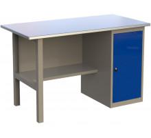 Стол верстак слесарный металлический с тумбой с дверцей, 1400 мм, серия MasterLine, Wellmet 1400 ML