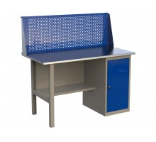 Стол верстак слесарный металлический с экраном и тумбой с дверцей, 1400 мм, серия MasterLine, Wellmet 1400 ML