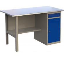 Стол верстак слесарный металлический с тумбой с ящиком и дверцей, 1400 мм, серия MasterLine, Wellmet 1400 ML–1