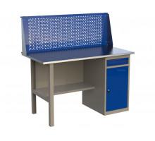 Стол верстак слесарный металлический с экраном и с тумбой с ящиком и дверцей, 1400 мм, серия MasterLine, Wellmet 1400 ML–1