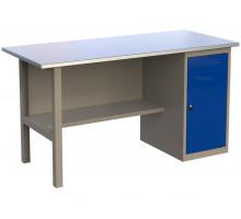 Стол верстак слесарный металлический с тумбой с дверцей, 1600 мм, серия MasterLine, Wellmet 1600 ML