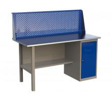 Стол верстак слесарный металлический с экраном и с тумбой с дверцей, 1600 мм, серия MasterLine, Wellmet 1600 ML