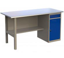 Стол верстак слесарный металлический с тумбой с ящиком и дверцей, 1600 мм, серия MasterLine, Wellmet 1600 ML-1