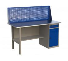 Стол верстак слесарный металлический с экраном и с тумбой с ящиком и дверцей, 1600 мм, серия MasterLine, Wellmet 1600 ML-1
