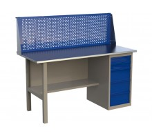 Стол верстак слесарный металлический с экраном и тумбой с 5-ю ящиками, 1600 мм, серия MasterLine, Wellmet 1600 ML-5