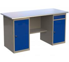 Стол верстак слесарный металлический с двумя тумбами, 1600 мм, серия MasterLine, Wellmet 1600 ML/ML-1