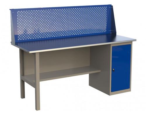 Стол верстак слесарный металлический с экраном и тумбой, 1800 мм, серия MasterLine, Wellmet 1800 ML