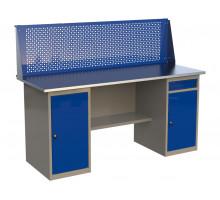 Стол верстак слесарный металлический с экраном с двумя тумбами и одним ящиком, 1800 мм, серия MasterLine, Wellmet 1800 ML/ML-1