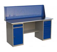 Стол верстак слесарный металлический с экраном с одной тумбой с ящиком и дверцей и тумбой с 7 ящиками, 1800 мм, серия MasterLine, Wellmet 1800 ML-1/ML-7