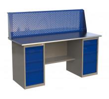 Стол верстак слесарный металлический с экраном с 2 тумбами с 4 ящиками, 1800 мм, серия MasterLine, Wellmet 1800 ML-4/ML-4