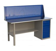 Стол верстак слесарный металлический с экраном и тумбой с 8 ящиками, 1800 мм, серия MasterLine, Wellmet 1800 ML-8