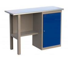 Стол верстак слесарный 1200 CL, металлический с тумбой с дверцей, 1200 мм, серия CompactLine, Wellmet
