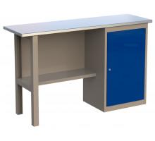 Стол верстак слесарный 1400 CL, металлический с тумбой с дверцей, 1400 мм, серия CompactLine, Wellmet