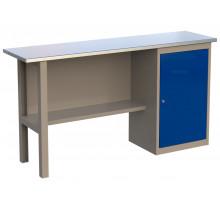 Стол верстак слесарный 1600 CL, металлический с тумбой с дверцей, 1600 мм, серия CompactLine, Wellmet
