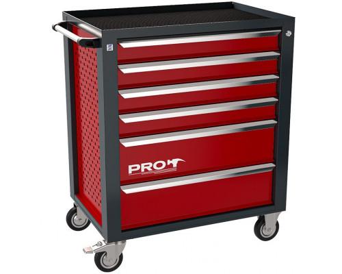 Тележка инструментальная ТЗИ-6Pro, 6 полок, цвет красный, Wellmet