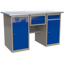 Стол верстак слесарный металлический с тумбой с дверцей с 2 ящиками и тумбой с ящиком, 1600 мм, серия MasterLine, Wellmet 1400 ML-0/ML-1 D