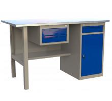 Стол верстак слесарный металлический с 2 ящиками и тумбой с ящиком, 1200 мм, серия MasterLine, Wellmet 1200 ML-1 D