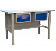 Стол верстак слесарный металлический с 2 ящиками, 1600 мм, серия MasterLine, Wellmet 1600 DD