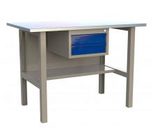 Стол верстак слесарный металлический с 2 ящиками, 1200 мм, серия MasterLine, Wellmet 1200 D